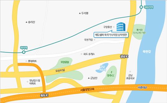 에듀셀파 독학기숙학원 남학생캠퍼스 지도